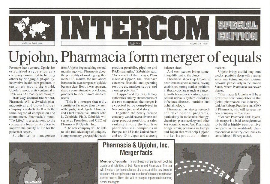upjohn pharmacia merger Pharmacia was a pharmaceutical and biotechnological company in sweden that merged with the american pharmaceutical company upjohn in 1995.